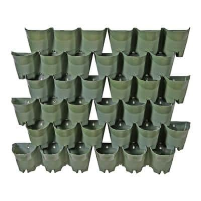 Olive Green Plastic 36-Pockets Self-Watering Vertical-Wall Garden Planters (12 Sets of 3)