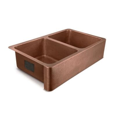 Adams Farmhouse Apron-Front Handmade Copper 36 in. 50/50 Double Bowl Kitchen Sink in Hammered Antique Copper