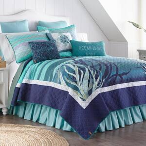 Summer Surf 3-Piece Blue Cotton Queen Quilt Set