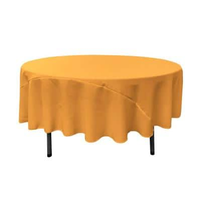 90 in. Gold Polyester Poplin Round Tablecloth