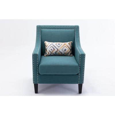 Elegant Teal linen accent armchair living room chair with nailheads and solid wood legs