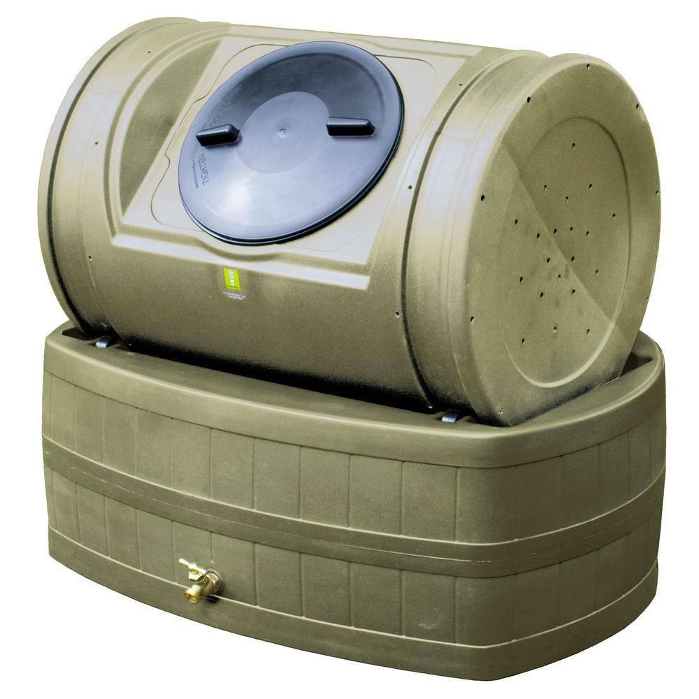 Good Ideas 7 Cu Ft Compost Tumbler With 47 Gal Rain Barrel Base In Khaki Ezwh Kha The Home Depot