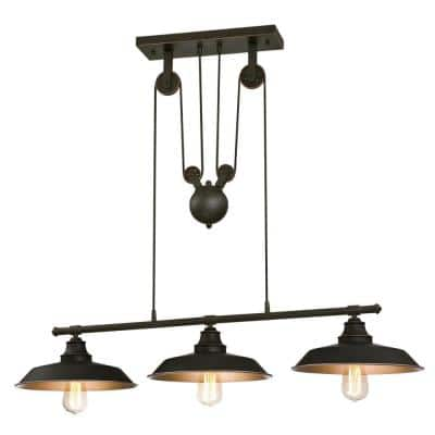 Iron Hill 3-Light Oil Rubbed Bronze Island Pulley Pendant