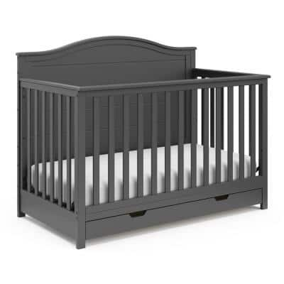 Moss Gray 4-in-1 Convertible Crib With Drawer