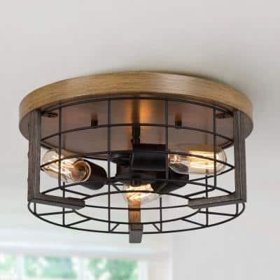 Minka 14 in. 3-Light Black Drum Flush Mount Industrial Caged Ceiling Light Fixture with Faux Wood Accents