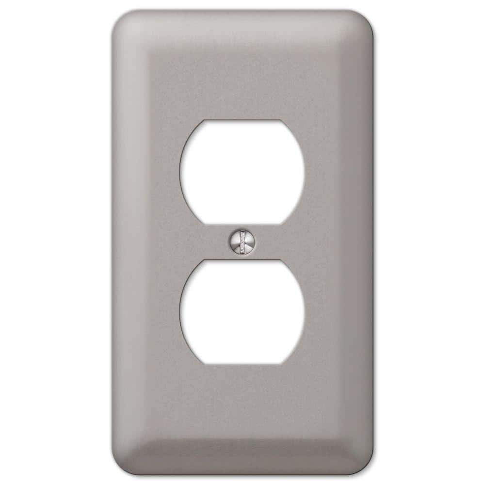 Hampton Bay Declan 1 Gang Duplex Steel Wall Plate Pewter 2dpwhb The Home Depot
