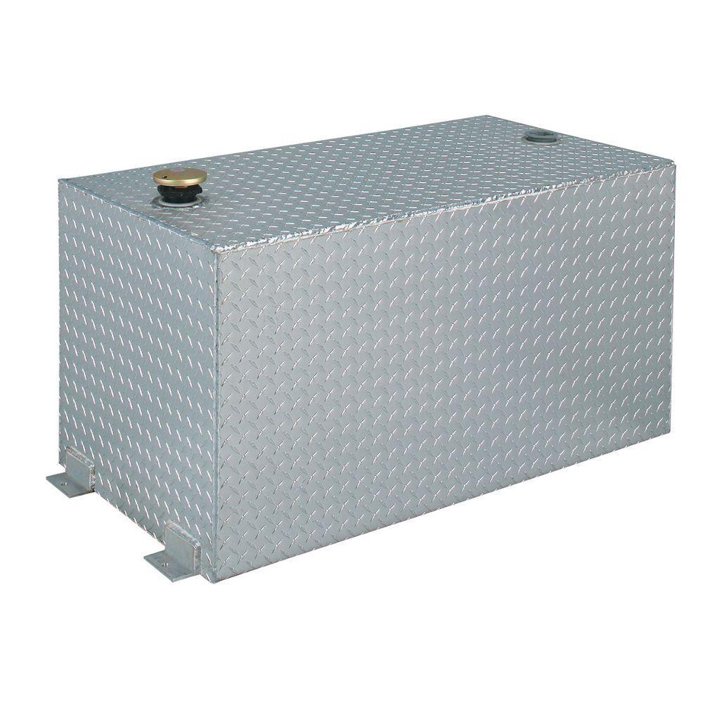 Rectangular Aluminum Liquid Transfer Tank in Silver Metallic