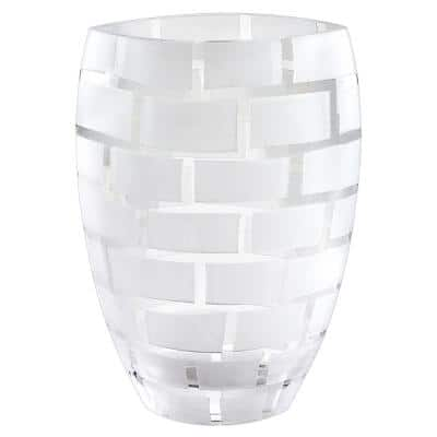 White / Frosted Wall Design Mouth Blown European Decorative Vase