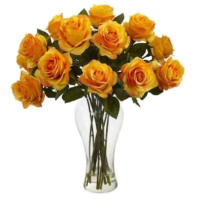 Blooming Roses Artificial Arrangement with Vase in Orange Yellow