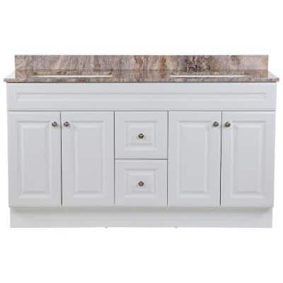 Glensford 61 in. W x 22 in. D Vanity in White with Stone Effects Vanity Top in Cold Fusion with White Sinks
