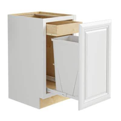 Brookfield Assembled 18x34.5x24 in. Plywood Mitered Single Wastebasket Base Kitchen Cabinet in Painted Pacific White