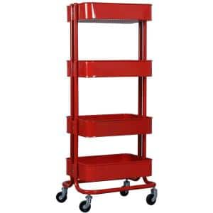 17.7 in. x 13.7 in. x 42.9 in. 4-Tier Metal Mobile Utility Cart in Red