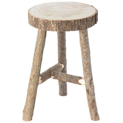 20 H x 12.5 Dia in. Brown Wooden Decorative Antique Log Cabin Natural Accent Stool Side Table