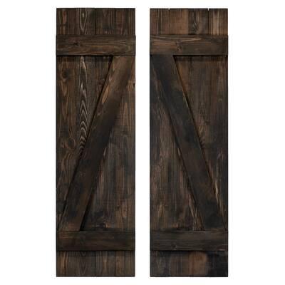 14 in. x 54 in. Z Slate Black Wood Board & Batten Shutters Pair