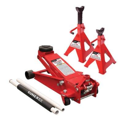 3.5-Ton Service Jack with Quick Lifting System with Jack Stands