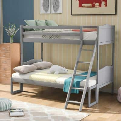 Gray Twin Over Twin/Full Bunk Bed with Ladder and Removable Platform
