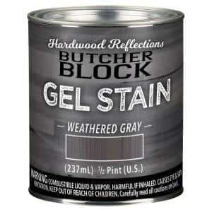 1/2-Pint Weathered Gray Oil-Based Satin Interior Butcher Block Wood Gel Stain