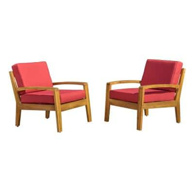 Teak Finish Wood Outdoor Lounge Chairs with Red Cushion (2-Pack)