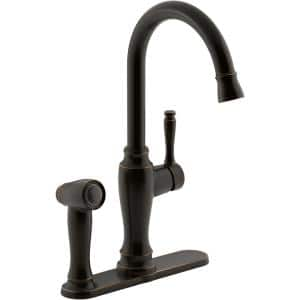 Arsdale Single-Handle Standard Kitchen Faucet in Oil-Rubbed Bronze with On-Deck Sidespray