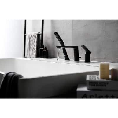 Modern Waterfall Bath Tub Faucet with Hand-Held Shower in Matte Black