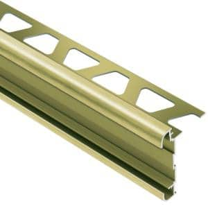 Rondec-CT Brushed Brass Anodized Aluminum 3/8 in. x 8 ft. 2-1/2 in. Metal Double-Rail Bullnose Tile Edging Trim