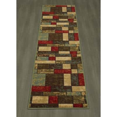 Ottohome Collection Contemporary Boxes Design Multi 2 ft. x 7 ft. Runner Rug