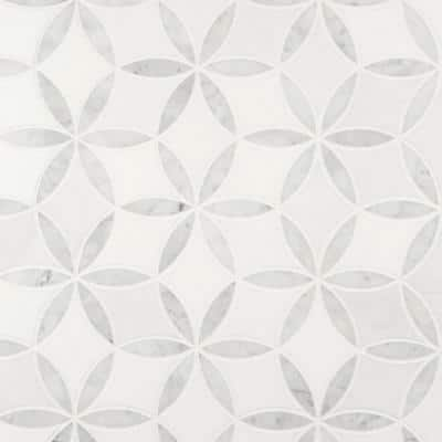 La Fleur 9.92 in. x 8.9 in. x 8mm Polished Marble Mesh-Mounted Mosaic Tile (6.2 sq. ft. / Case)