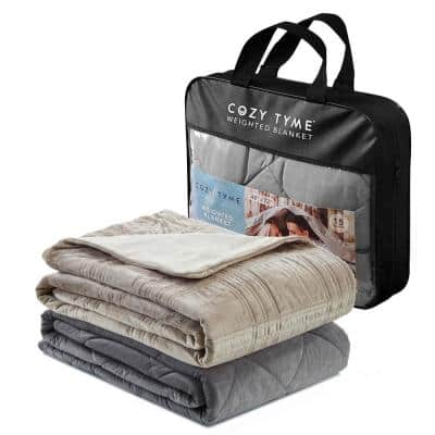 Ekon 12 lbs. 48 in. x 72 in. Taupe Weighted Blanket