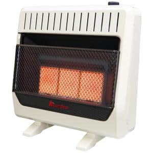 30,000 BTU, Ventless Dual Fuel Infrared Plaque Heater With Base and Blower, T-Stat Control