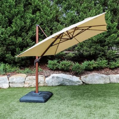 10 ft. x 12 ft. Aluminum Rectangle Offset Cantilever Outdoor Patio Umbrella in Cafe
