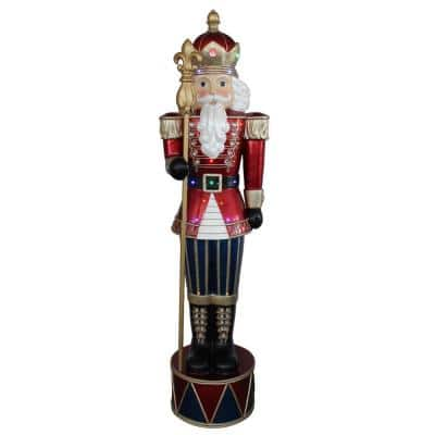 72 in. Christmas LED Lighted Commercial Grade Jeweled Nutcracker with Scepter Fiberglass Decoration
