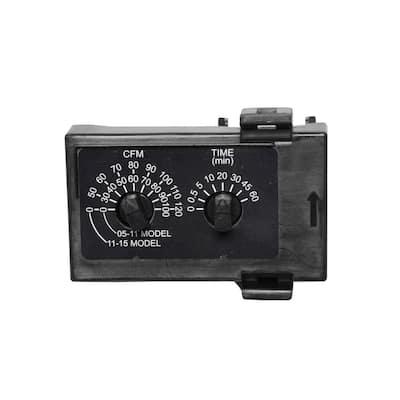 WhisperGreen Select 3-3/4 in. x 1-2/3 in. Multi Speed Time Delay Module in Black