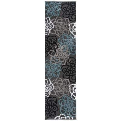 Contemporary Modern Floral Flowers Gray 24 in. x 120 in. Runner Rug