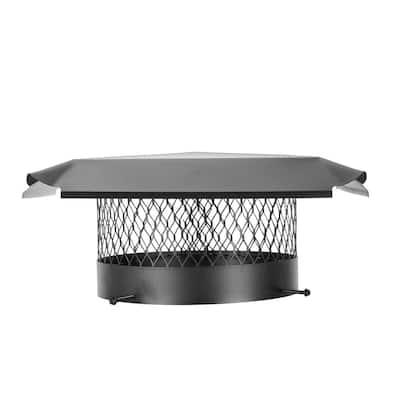 12 in. Round Bolt-On Single Flue Chimney Cap in Black Galvanized Steel