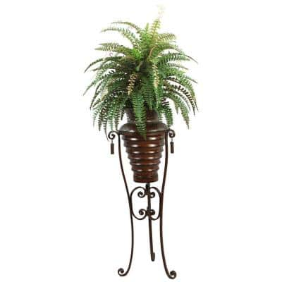 6 ft. Tall High End Realistic Silk Boston Fern Plant with Metal Planter and Stand