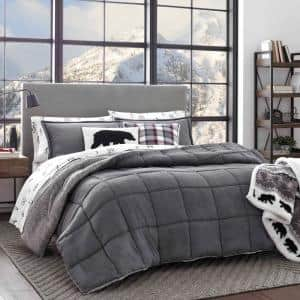 Sherwood 3-Piece Gray Solid Micro Suede King Comforter Set