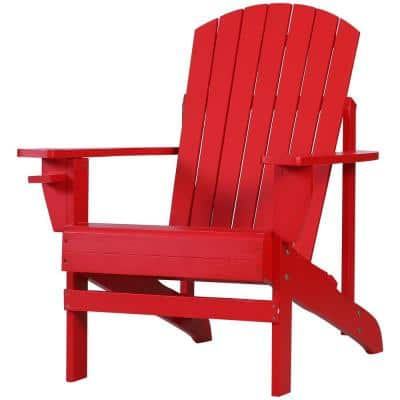 Red Wood Adirondack Chair for the Deck with Ergonomic Design and a Built-In Cup Holder