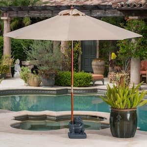 Rachel 57.21 lbs. Polyresin and Concrete Patio Umbrella Base in Gray