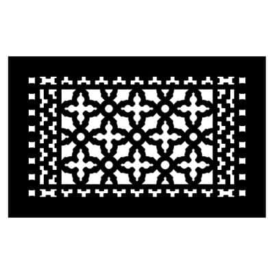 Scroll Series 14 in. x 8 in. Cast Iron Grille, Black with Mounting Holes