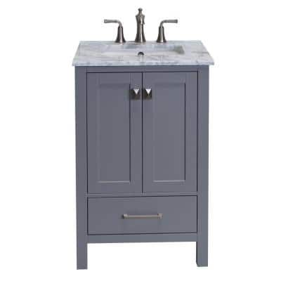 Aberdeen 29.1 in. W x 22 in. D x 35 in. H Vanity in Grey with Carrara Marble Vanity Top in White with White Basin
