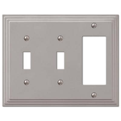 Tiered 3 Gang 2-Toggle and 1-Rocker Metal Wall Plate - Satin Nickel