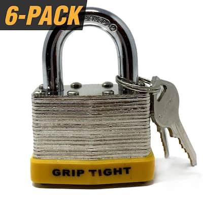 2 in. Nickel Plated Laminated Steel Keyed Padlock with Vinyl Bumper and 12 Keys Total, (6-Pack, Keyed Alike)