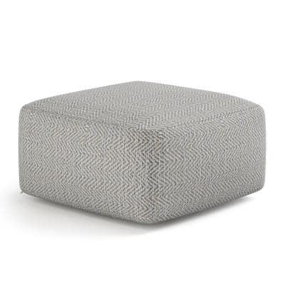 Delray Patterned Grey Melange Square Pouf