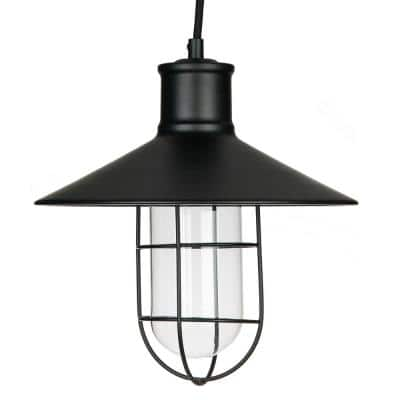1-Light Satin Black Vintage Caged Canopy Pendant Light Fixture with Glass Shade
