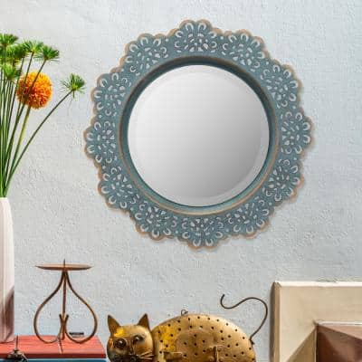 Small Round Blue Casual Mirror (12.5 in. H x 12.5 in. W)