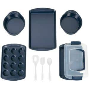 9-Piece Navy Blue Diamond-Infused Non-Stick Bakeware Set