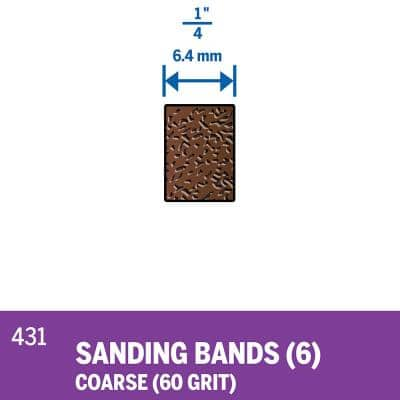 1/4 in. Rotary Tool 60-Grit Sanding Bands for Wood and Fiberglass (6-Pack)