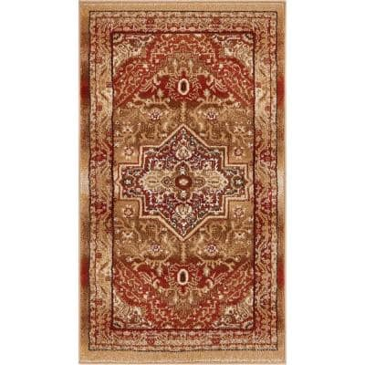 Barclay Kaibab Red 2 in. 3 ft. x 3 ft. 11 in. Traditional Medallion Area Rug