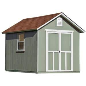 Installed Meridian 8 ft. x 10 ft. Wood Storage Shed with Autumn Brown Shingles