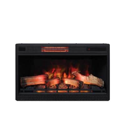 32 in. Ventless Infrared Electric Fireplace Insert with Safer Plug